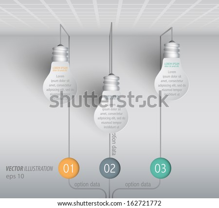 hanging lamp with ideas, business solution, paper style vector infographics - stock vector