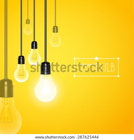 Hanging light bulbs with glowing one on a yellow background. Vector illustration for your design. - stock vector