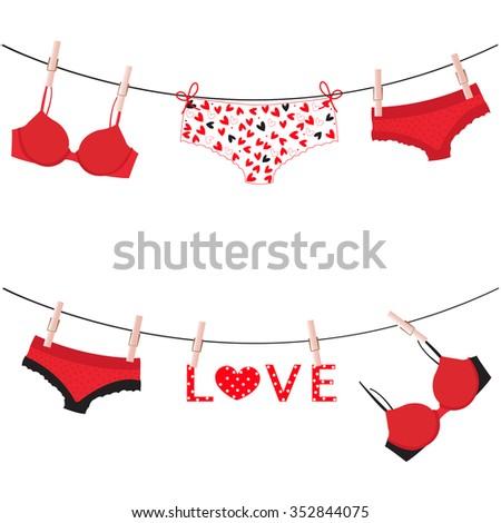 hanging lingerie panties underwear love valentine day card vector - Valentine Panties