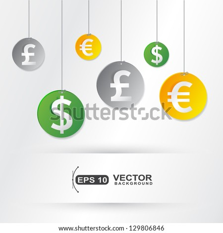 hanging  money currency signs elements business cover  - stock vector