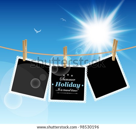 Hanging Pictures on blue sky background. Vector illustration. - stock vector