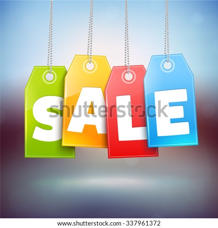 Hanging Price Tags. Vector Sale labels - stock vector