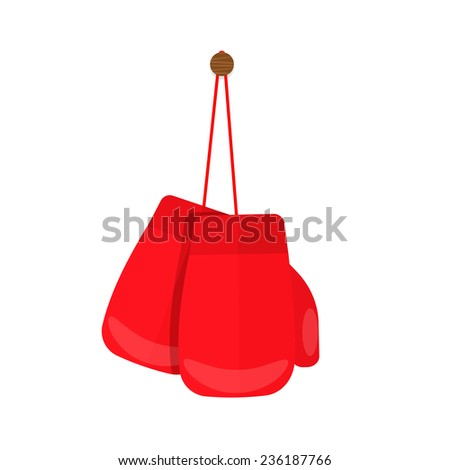 Hanging red boxing gloves, vector - stock vector