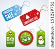 hanging sales tags christmas - stock vector
