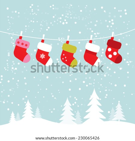 Hanging socks in snowy winter scene - stock vector