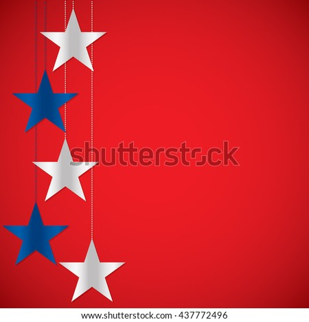 Hanging star 4th of July card in vector format. - stock vector