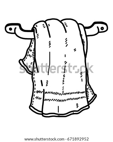 Hanging Towel In Bathroom / Cartoon Vector And Illustration, Black And White,  Hand Drawn
