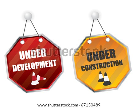 Hanging under construction boards - stock vector