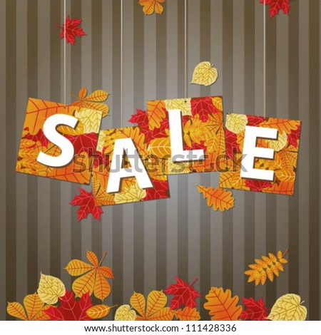 Hanging vector sale with autumn leaves - stock vector