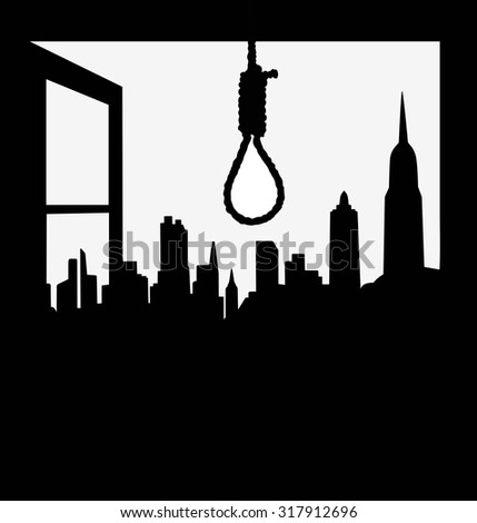Hangman noose with depressive city views from the windows - stock vector