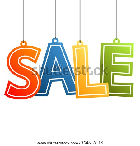 hangtag with colored letters sale on white background