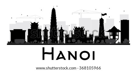 Hanoi City skyline black and white silhouette. Vector illustration. Simple flat concept for tourism presentation, banner, placard or web site. Business travel concept. Cityscape with famous landmarks