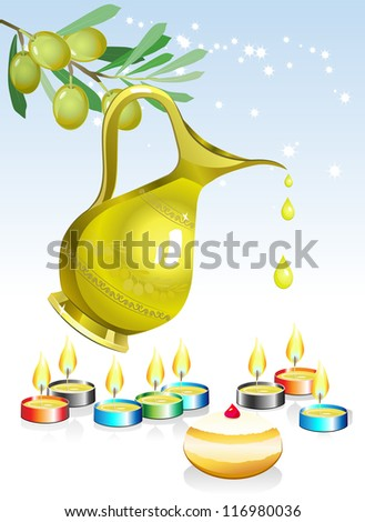 hanukkah background with candles, oil and olive tree - stock vector