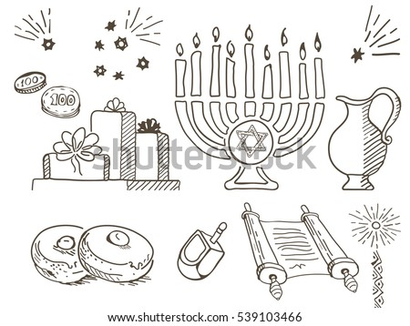 Jewish hanukkah symbols set stock images royalty free for Jewish symbols coloring pages