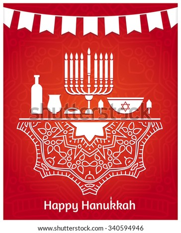 Hanukkah. Festive table. Candlestick, cake, candles, wick, jar, a large dish, dreidel. Jewish holiday. Happy Hanukkah greeting card design. Celebratory bright background for Hanukkah. Tape with flags. - stock vector