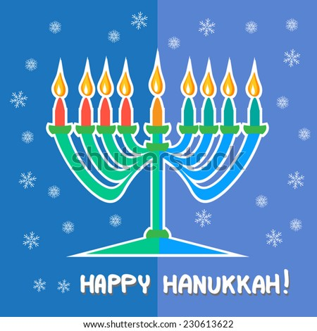 Hanukkah Greetings - Happy Hanukkah beautiful flat illustration. Menorah candlestick with candles, flames and snow flakes on blue background. Greeting card. Cute jewish holiday symbol. Vector Eps10.  - stock vector
