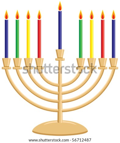 Hanukkah Menorah with Lit Candles Vector - stock vector