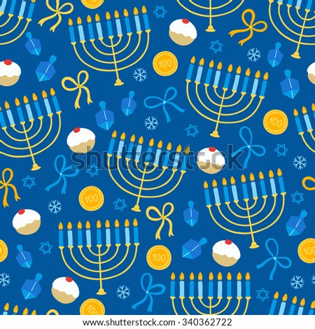 Hanukkah seamless pattern with menorah, dreidel, coins, snowflakes, donuts, bows and Jewish star. Perfect for wallpapers, gift papers, patterns fills, textile, Hanukkah greeting cards - stock vector