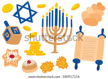 Hanukkah Traditional Attributes: Menorah, Dreidel, Latke Potato Pancakes, Sufganiyah donuts, Star of David and Challah Bread - stock vector
