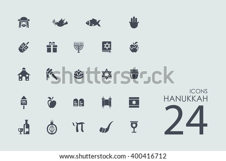 Hanukkah vector set of modern simple icons - stock vector