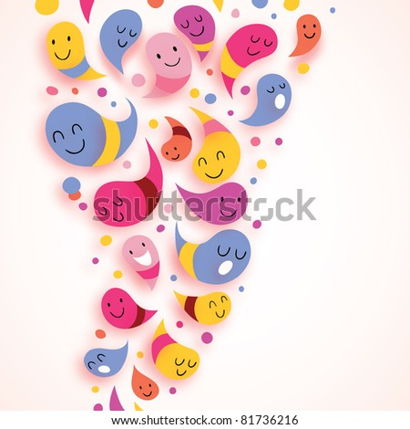 happy abstract characters colorful background