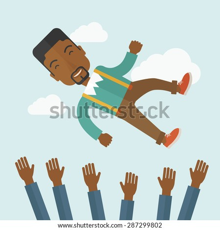 Happy african-ameircan businessman being throwing up to the sky by his teamwork or colleague. Happiness concept. A contemporary style with pastel palette soft blue tinted background with desaturated - stock vector