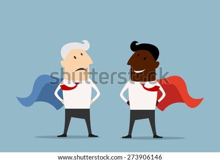 Happy african american and sad caucasian cartoon superhero  - stock vector