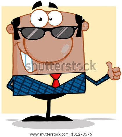 Happy African American Business Man With Sunglasses Showing Thumbs Up - stock vector