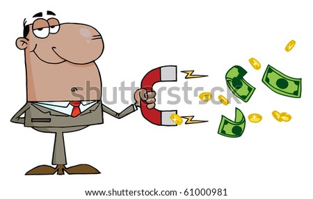 Happy African American Businessman Using A Magnet To Attracts Money - stock vector