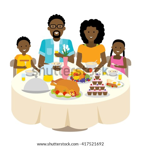 Happy african american family dinner table. Thanksgiving celebration. Cake and turkey. Holiday togetherness. - stock vector