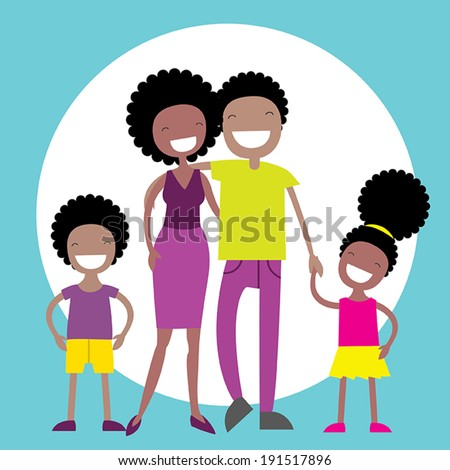 Happy African American family of four members: parents,their son and daughter. Lovely cartoon characters.Vector illustration - stock vector