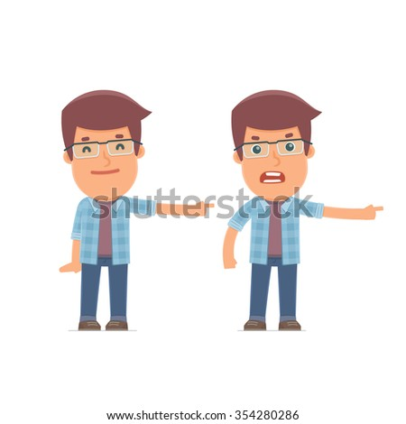 Happy and Angry Character Freelancer making presentation using his hand. for use in presentations, etc. - stock vector