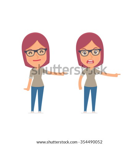 Happy and Angry Character Girl Designer making presentation using his hand. for use in presentations, etc. - stock vector