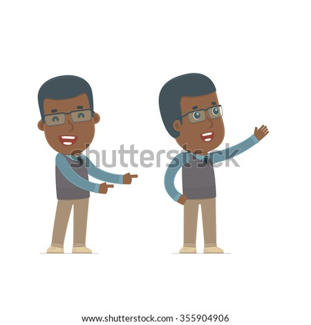 Happy and Cheerful Character African American Teacher making presentation using his hand. for use in presentations, etc. - stock vector