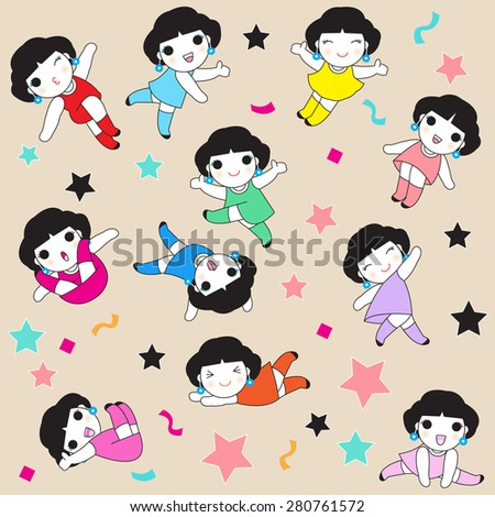 Happy And Cheerful Girls character pattern illustration - stock vector