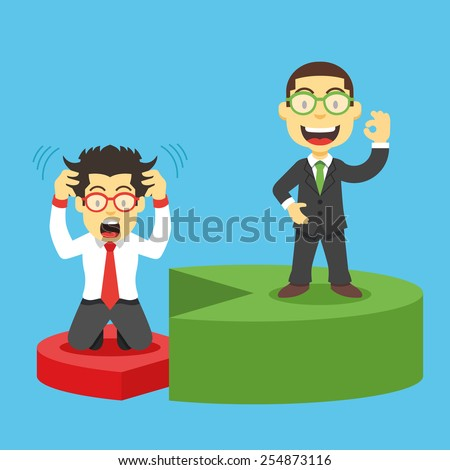 Happy and disappointed businessmen standing on red and green pieces of pie chart. Vector graphic design illustration. Successful and unsuccessful business models concept. Isolated on blue background. - stock vector