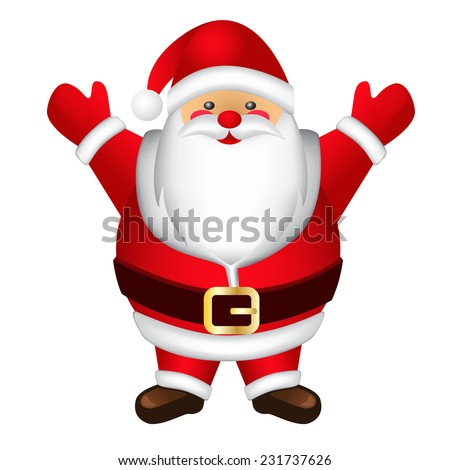 Happy and fat Santa Claus. - stock vector