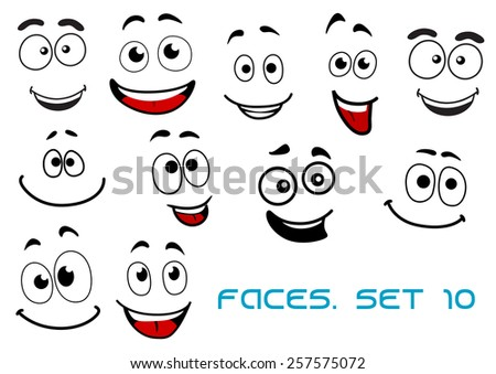 Happy and joyful emotions on cartoon smiling faces for humor caricature or comic design - stock vector