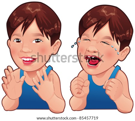 Happy and Sad boy. Cartoon and vector isolated character. - stock vector