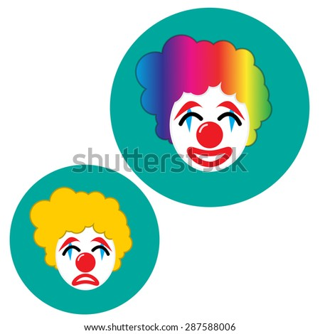 happy and sad joker with rainbow wavy hair,white face,red big nose and mouth in flat icon style - stock vector