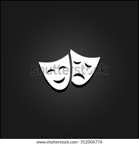 Happy and sad Theater masks. White flat simple vector icon with shadow on a black background - stock vector