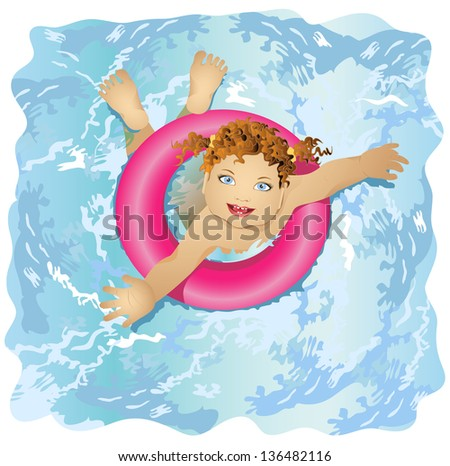 Happy and smiling child floats in water. The girl lifesaver. Girl with blue eyes and red hair.