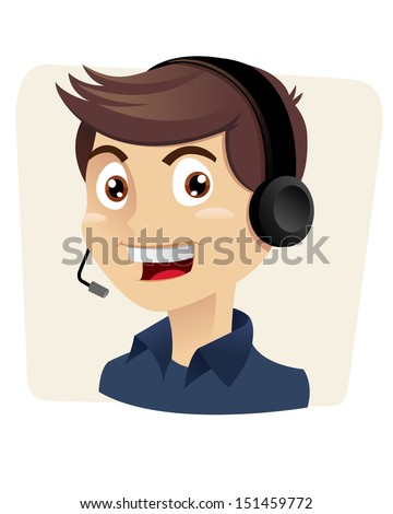 Happy and smiling customer service man answering the call, vector illustration - stock vector