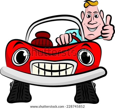 happy and smiling driver in his red convertible - stock vector
