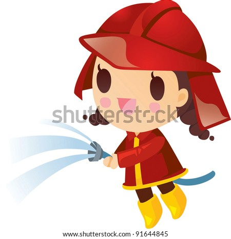 Happy and Smilling Cute Firewoman - stock vector
