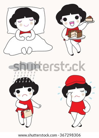 Happy And Stress Moment Character illustartion - stock vector