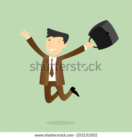 Happy and successful businessman,vector, illustration. - stock vector
