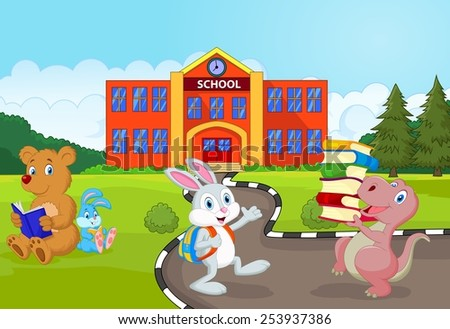 Happy animal going to school - stock vector