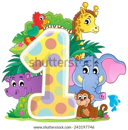 Happy animals around number one - eps10 vector illustration. - stock vector