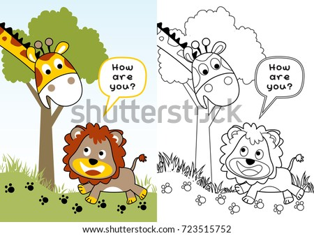 Happy Animals In Jungle Vector Cartoon Illustration Coloring Page Or Book